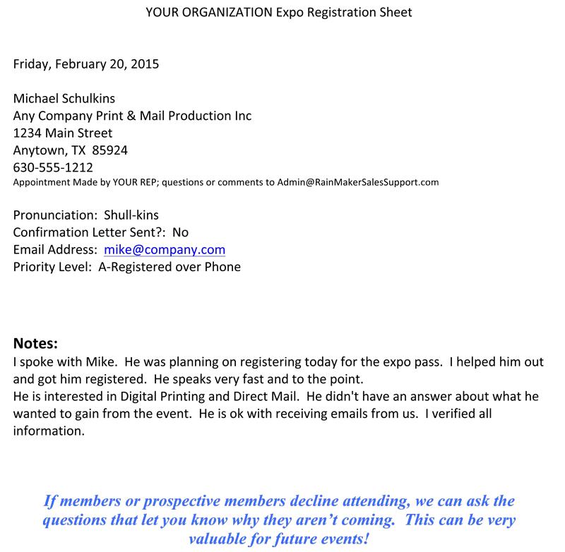 sample member event registration