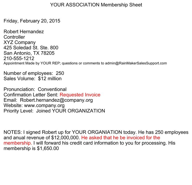 sample membership drive sheet for member side